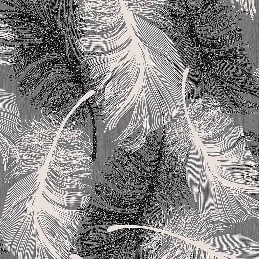 Feathers Quill Glitter Black White Silver Coloroll Feather Wallpaper M0925
