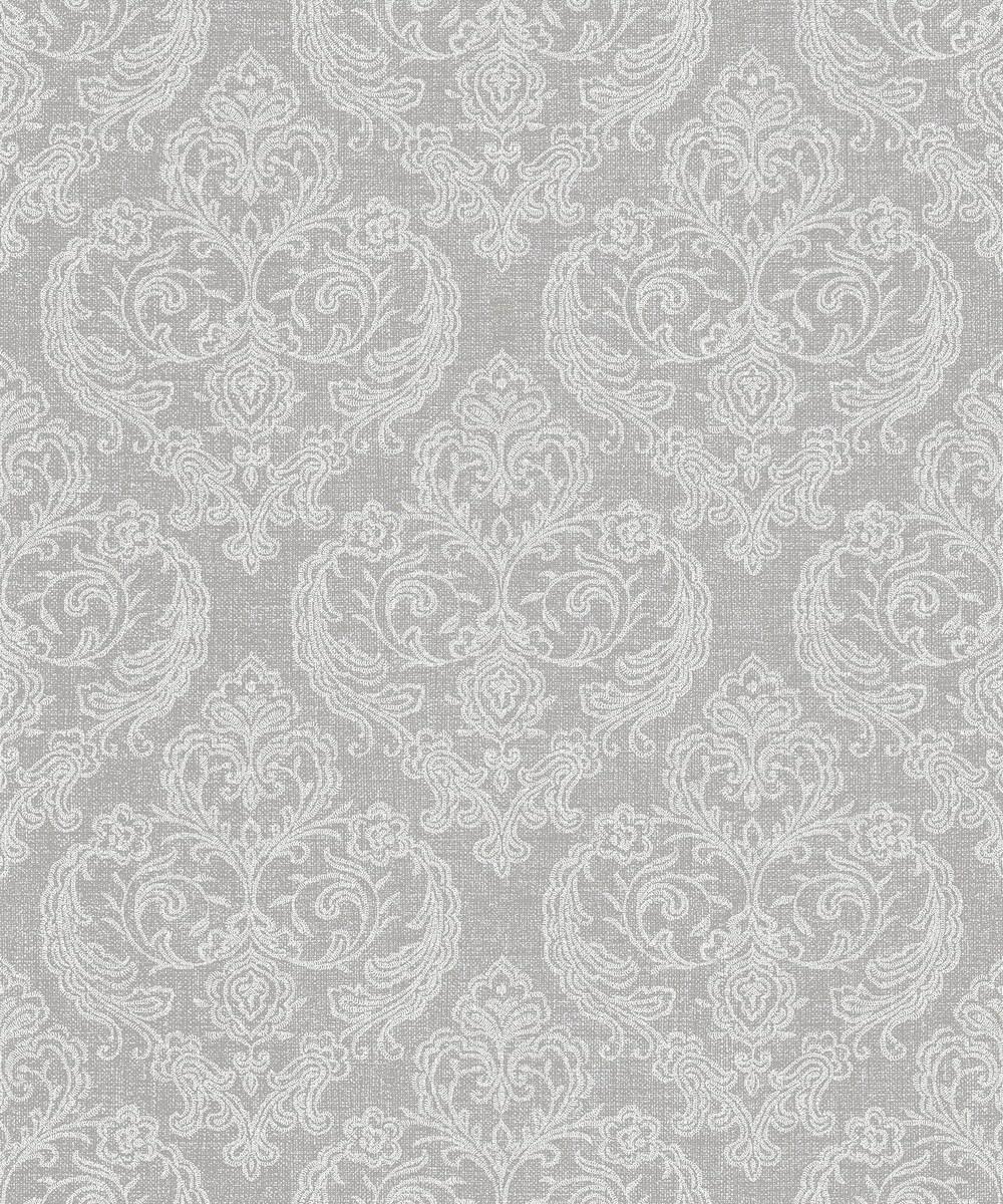 decorsave crown calico damask soft grey wallpaper m1309 ebay. Black Bedroom Furniture Sets. Home Design Ideas