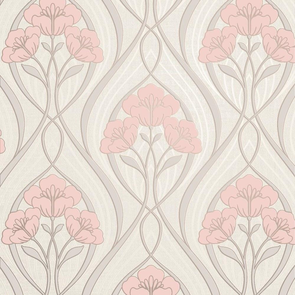 Fine Decor Evelyn Floral Blush Wallpaper Fd42576 Textured Vinyl