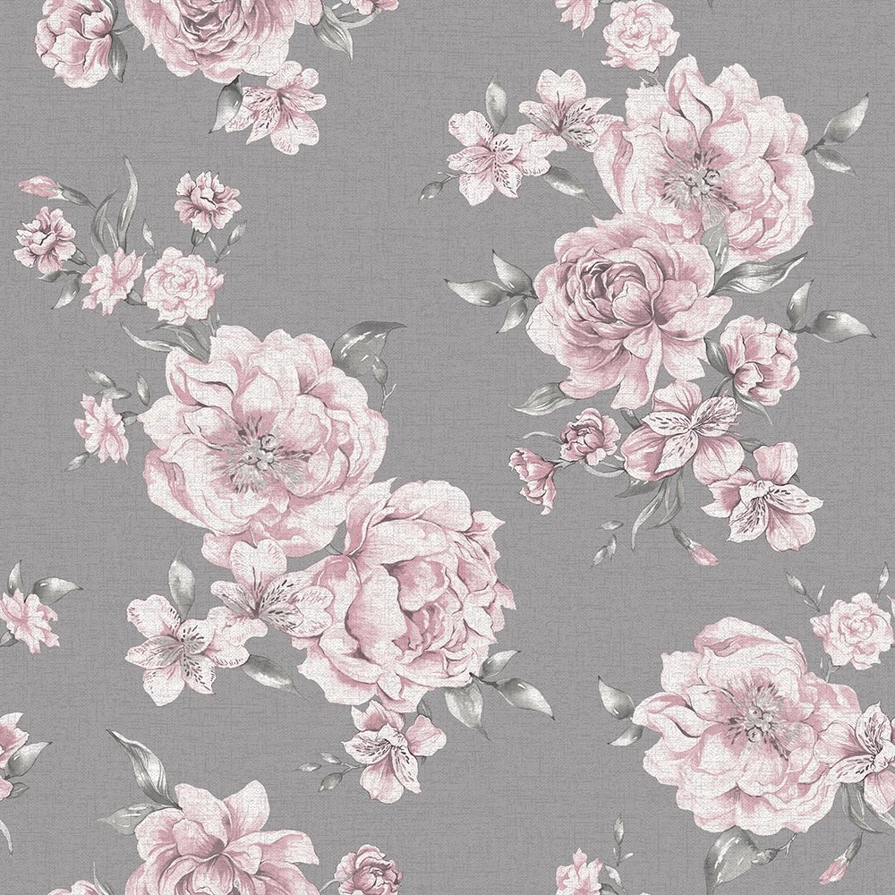 Holden Decor Peony Floral Pink Dark Grey Wallpaper 12830 Feature