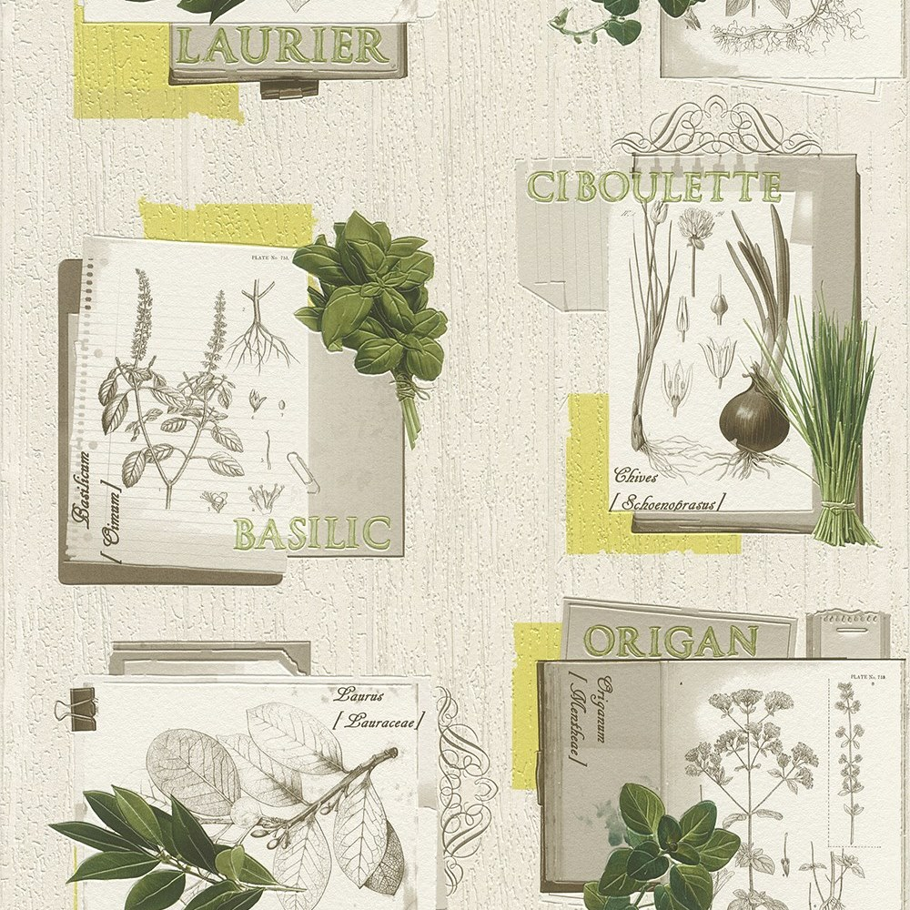 Botanical Tile Effect Wallpaper Rasch Textured Vinyl Plant Flower Kitchen