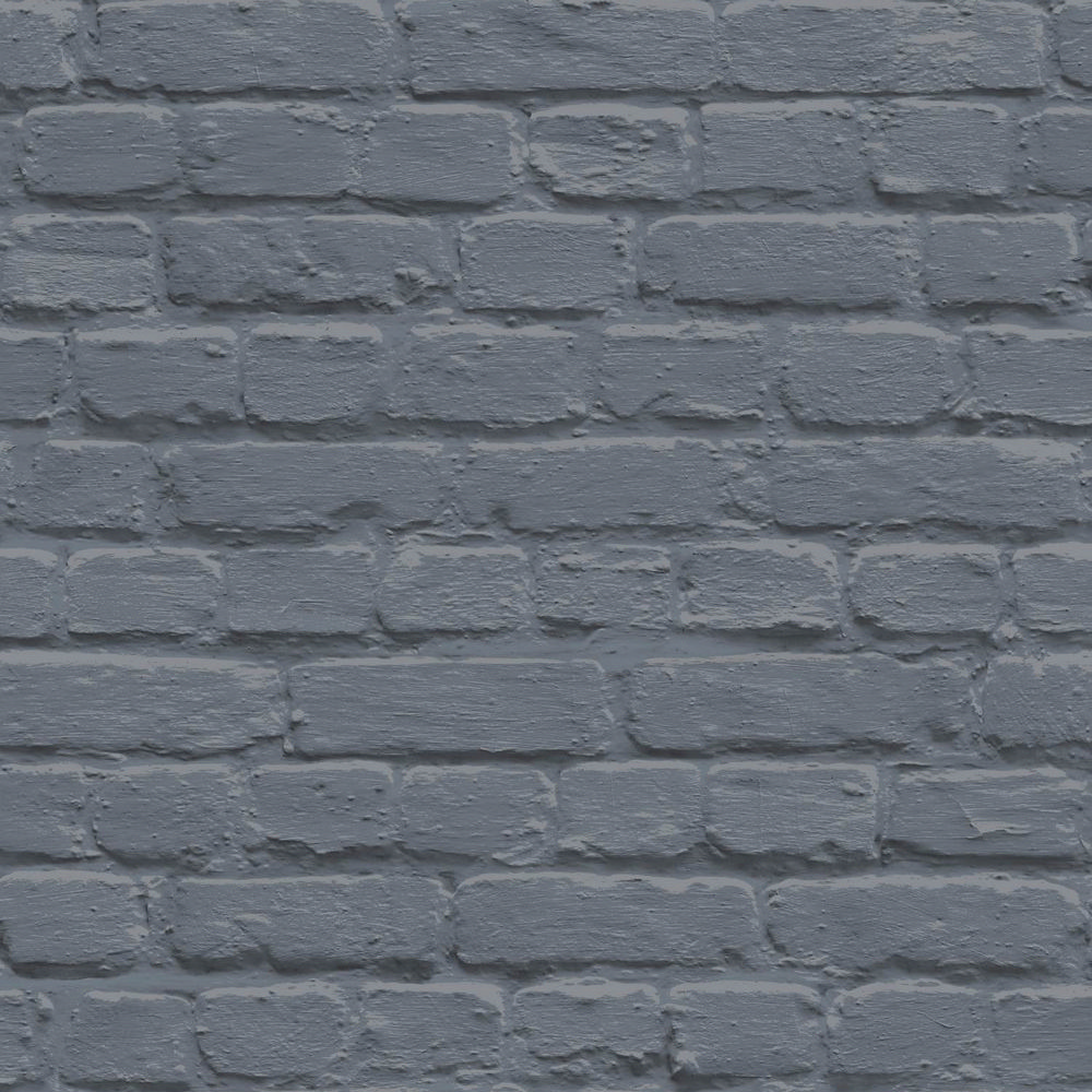 Ugepa Painted Brick Blue Wallpaper L22601 Novelty Feature Faux Wall Metallic